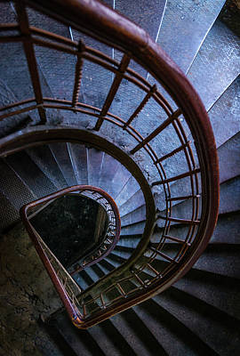 Photograph - Blue Metal Staircase by Jaroslaw Blaminsky