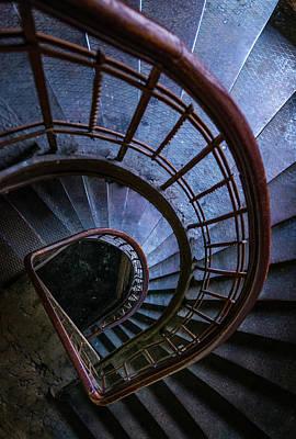 Photograph - Blue Metal Staircase by Jaroslaw Blaminsky