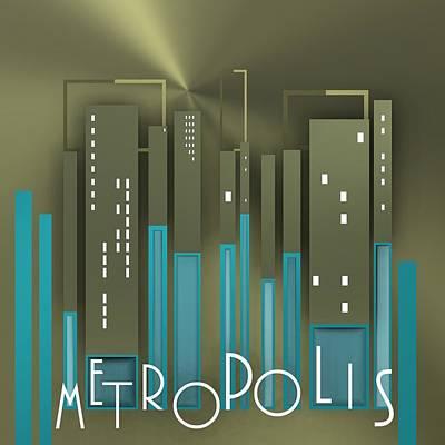 Letter Digital Art - Blue Metropolis by Alberto RuiZ