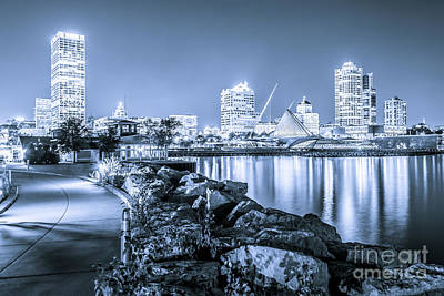 Blue Milwaukee Skyline At Night Picture Art Print by Paul Velgos