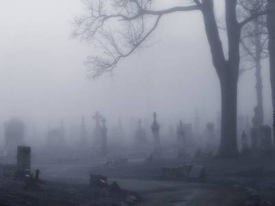 Graveyard Road Photograph - Blue Misted Fog Creeps In by Gothicrow Images