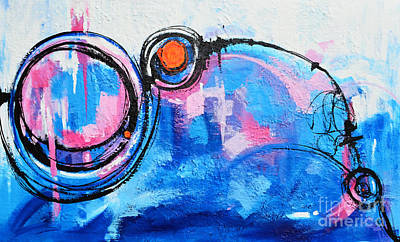 Drips Painting - Blue Modern Abstract Original Acrylic Painting by Patricia Awapara