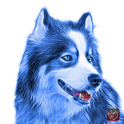 Painting - Blue Modern Siberian Husky Dog Art - 6024 - Wb by James Ahn
