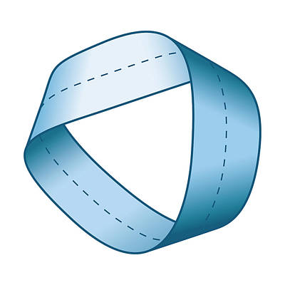 Mobius Strip Digital Art - Blue Moebius Strip With Centerline by Peter Hermes Furian