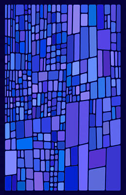 Mixed Media - Blue Mondrian by Frank Lee Hawkins