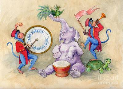Art Print featuring the painting Blue Monkeys Circus by Lora Serra
