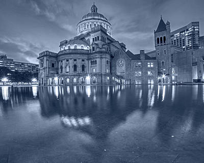 Photograph - Blue Monochrome Boston Christian Science Building Reflecting Pool by Toby McGuire