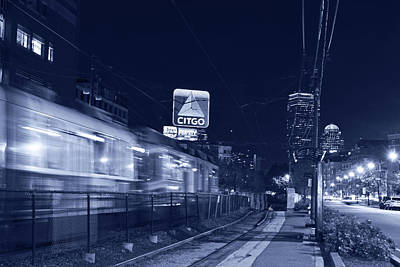 Blue Monochrome Boston Ma Green Line Train On The Move Art Print by Toby McGuire