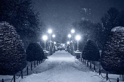 Photograph - Blue Monochrome Boston Public Garden Snow Storm Ma Massachusetts Bridge Lights by Toby McGuire
