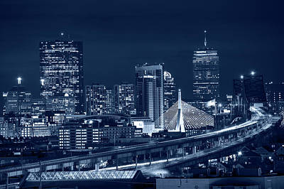 Photograph - Blue Monochrome The Boston Skyline Boston Ma by Toby McGuire