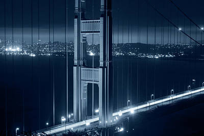Photograph - Monochrome Blue The San Francisco Skyline Through The Golden Gate Bridge by Toby McGuire