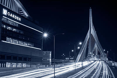 Photograph - Blue Monochrome Zakim Bridge And Td Garden Boston Ma Long Exposure by Toby McGuire