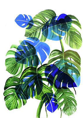 Bananas Painting - Blue Monstera by Ana Martinez