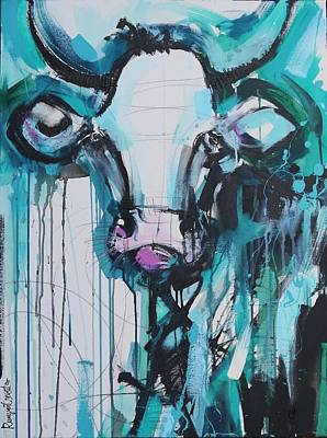 Abstract Painting - Blue Moo Cow by Irina Rumyantseva