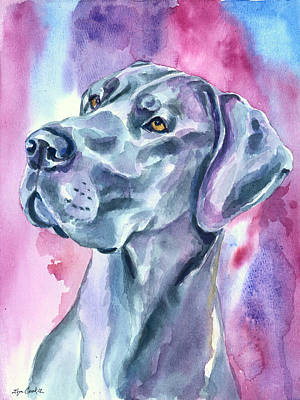 Watercolor Pet Portraits Wall Art - Painting - Blue Mood - Great Dane by Lyn Cook
