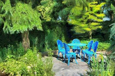 Digital Art - Blue Mood In The Garden by Eva Lechner