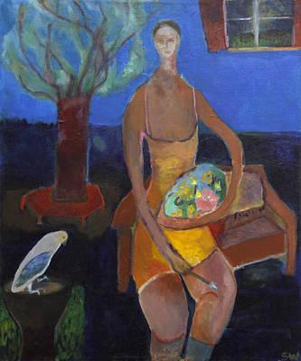Contemplative Painting - Blue Mood by Sarah Whitecotton