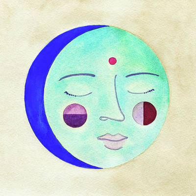 Blue Moon Art Print by Clary Sage Moon