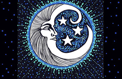 Painting - Blue Moon Greeting Card 01 by Debbie Chamberlin