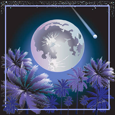 Wall Art - Digital Art - Blue Moon by Jack Potter