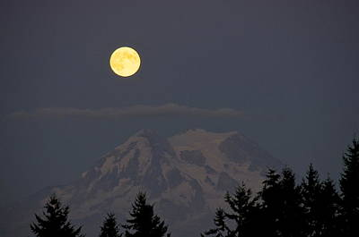 Lightscapes Photograph - Blue Moon - Mount Rainier by Sean Griffin