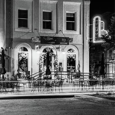 Photograph - Blue Moon On The Square And Bentonville Neon - Black And White by Gregory Ballos