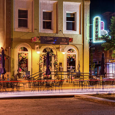 Photograph - Blue Moon On The Square And Bentonville Neon - Color by Gregory Ballos