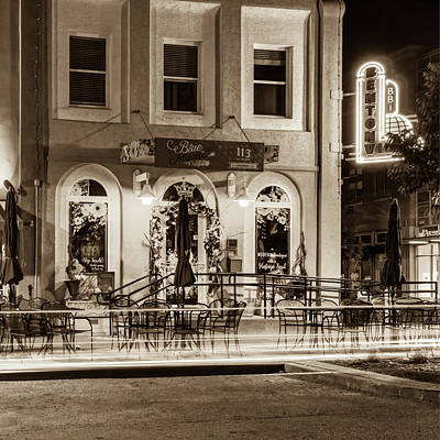 Blue Moon On The Square And Bentonville Neon - Sepia Art Print by Gregory Ballos