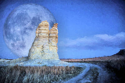 Digital Art - Blue Moon Over Castle Rock by Kyle Findley