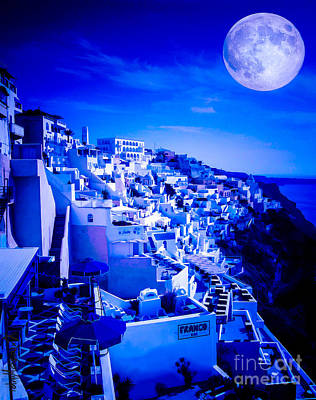 Minoan Photograph - Blue Moon Over Fira Santorini by Rdm-Margaux Dreamations