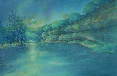 Texas Hill Country Painting - Blue Moon Over The Guadalupe by Virgil Carter