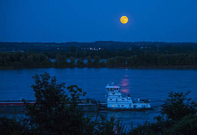 Photograph - Blue Moon Over The Mississippi River by Garry McMichael