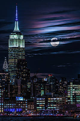 Photograph - Blue Moon Rising Over Manhattan by Chris Lord