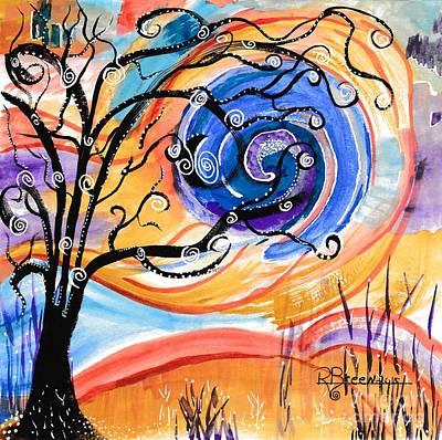Gel Pen Painting - Blue Moon by Ronda Breen