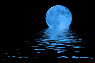 Night Photograph - Blue Moon by Shane Bechler