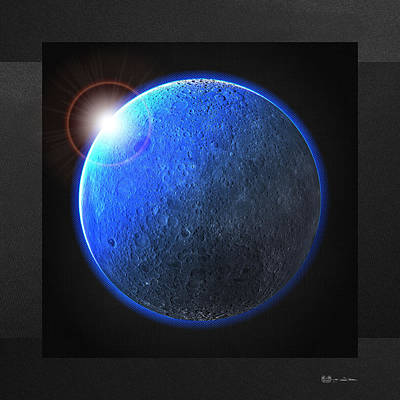 Digital Art - Blue Moon - The Dark Side Of The Moon  by Serge Averbukh