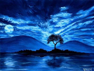Blue Moon Print by Wahleyah Black