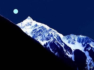 Snowy Digital Art - Blue Moon by Will Borden