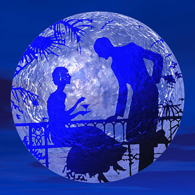 Blue Moonlight Lovers Art Print