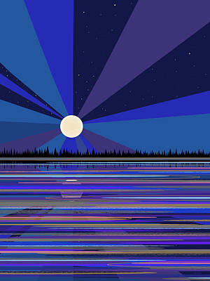 Digital Art - Blue Moonrise by Val Arie
