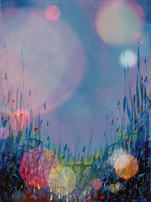 Arkansas Painting - Blue Moons And Fireflies by Diann Blevins