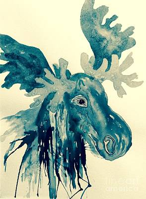 Painting - Blue Moose - Abstract by Ellen Levinson