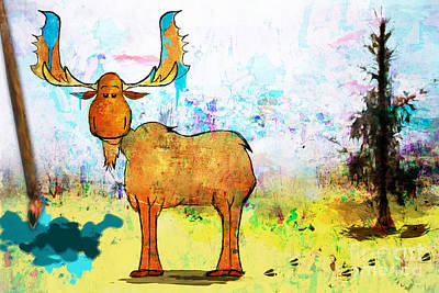 Digital Art - Blue Moose On The Loose  by Christina VanGinkel