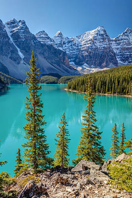 Photograph - Blue Moraine Lake by Pierre Leclerc Photography