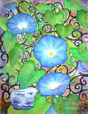 Painting - Blue Morning Glories by Janet Immordino