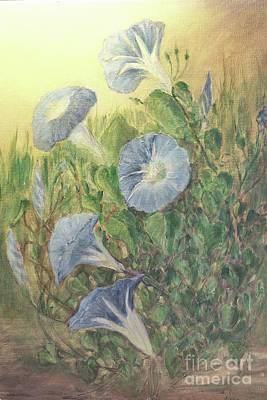 Painting - Blue Morning Glories by Janette Boyd and Janie Chase