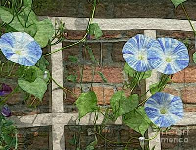 Digital Art - Blue Morning Glories by Kathie Chicoine
