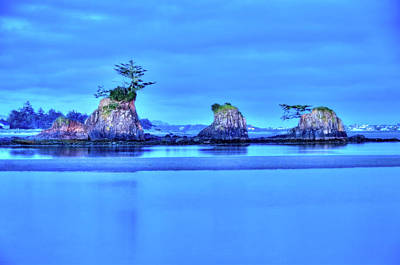 Photograph - Blue Morning Siletz Bay Oregon by Connie Cooper-Edwards