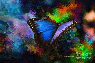 Photograph - Blue Morpho Butterfly by Annie Zeno