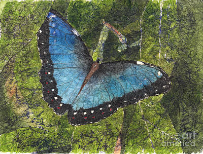 Painting - Blue Morpho Butterfly Batik by Conni Schaftenaar